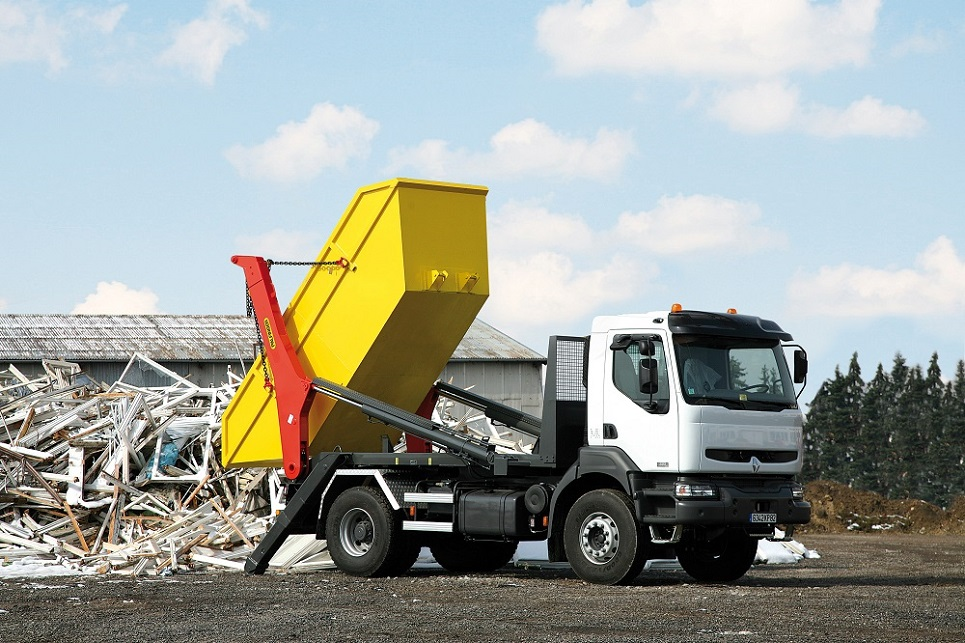 Recycling and waste skip loader